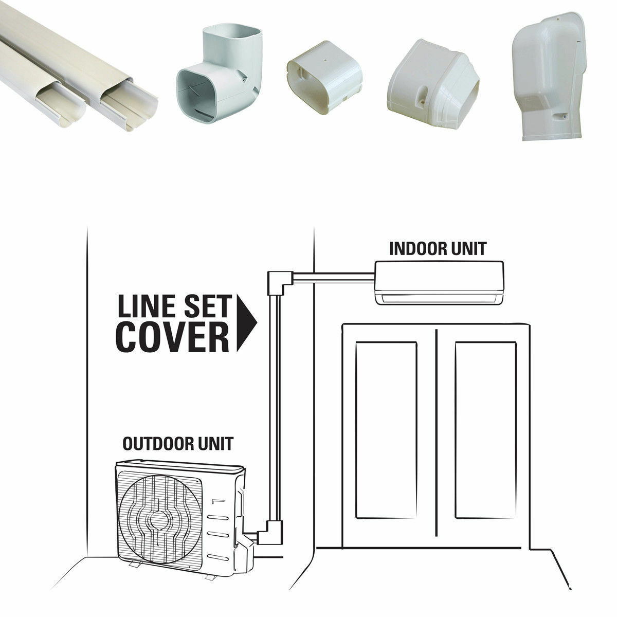 12 Ft Line Set Cover Kit Mini Split and Central Air Conditio