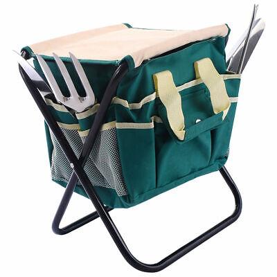 (7 PCS Garden Tool Bag Set Folding Stool Tools Gardening Stainless Steel Gift New)