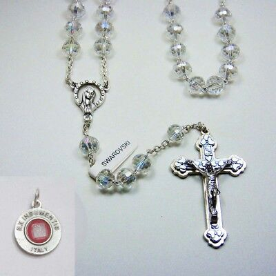 Italian Cut Crystal Rosary 8mm Oval Clear - Bonus St Anthony Relic Medal