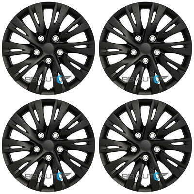 "15"" SET of 4 NEW BLACK Wheel Covers Hubcaps Snap On fits R15 Tires Steel Rims"