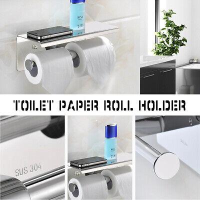 Bathroom Toilet Paper Holder Towel Phone Storage Shelf Roll Dual Hanger Shelf US