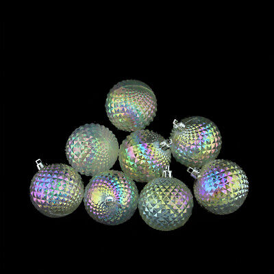 8ct Clear Iridescent Diamond Cut Shatterproof Christmas Ball Ornaments 2.5