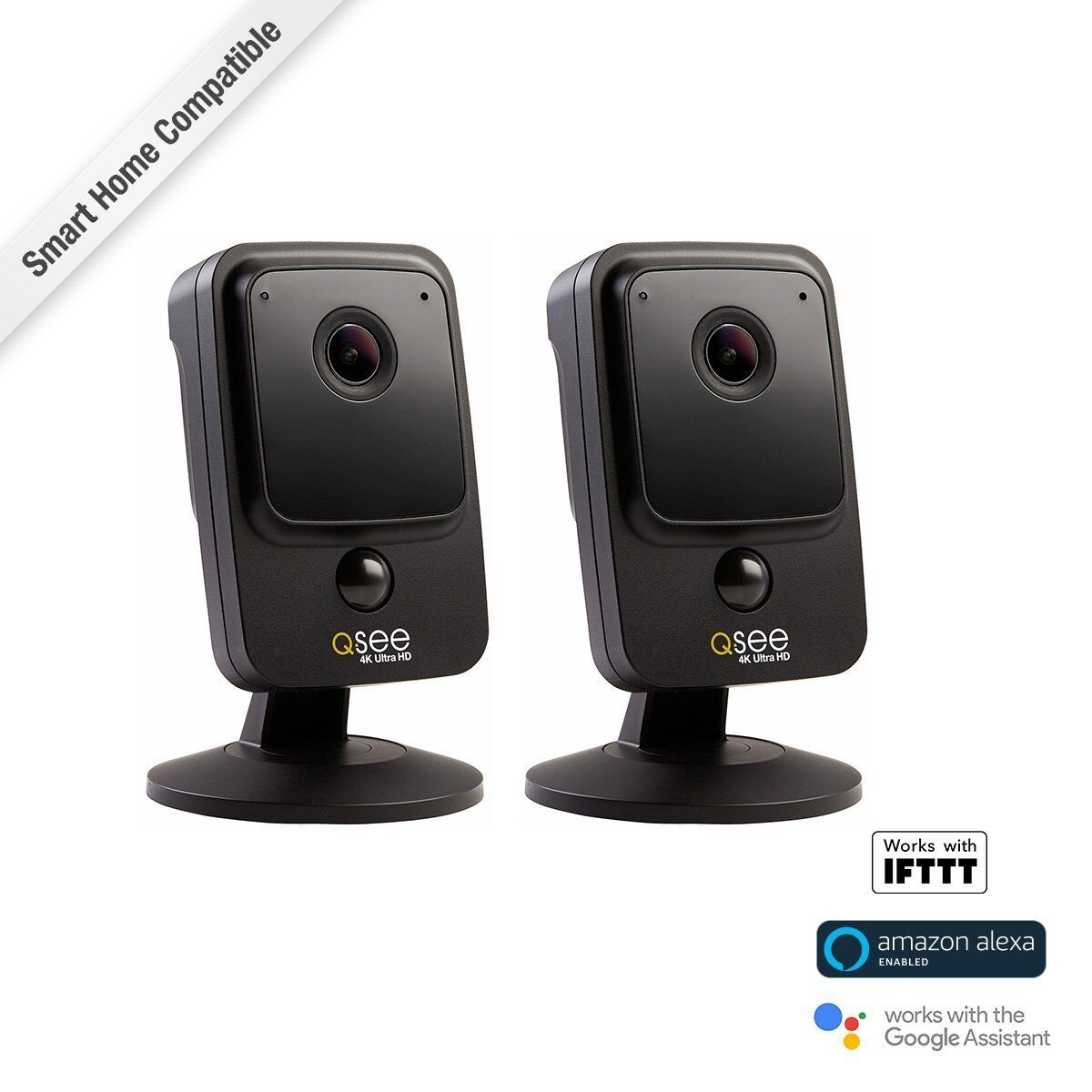 Q-See 4K Ultra HD Wi-Fi Cube Camera 2 Pack, Night Vision, In