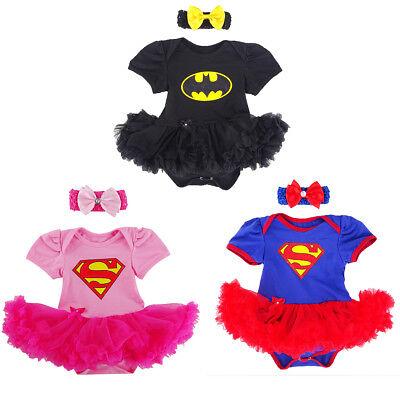 Baby Girl Supergirl Batgirl Costume Bodysuit Newborn Dress Carnival Jumpsuit Set