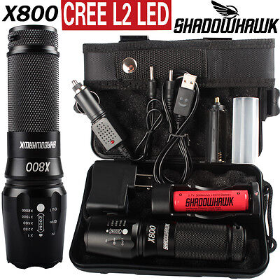8000lm Genuine Shadowhawk X800 Flashlight CREE L2 USB Zoom Military Torch 18650