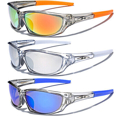 Frost Clear Sport Wrap Men Athletic Sunglasses Baseball Cycling Mirrored (Clear Sunglasses For Men)