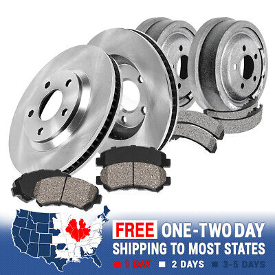 Front Brake Rotors + Ceramic Pads & Rear Drums + Shoes For Cherokee Wrangler Jeep Front Brake Drum