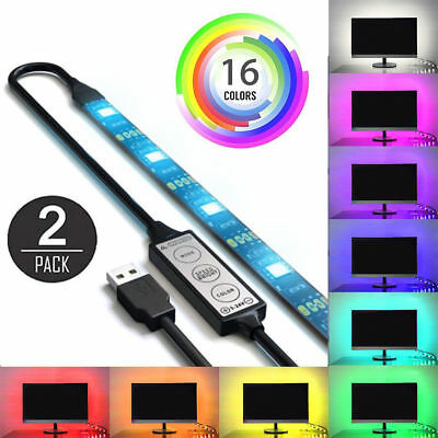 Led - 2Pcs USB Powered RGB 5050 LED Strip Lighting for TV Computer Background Light