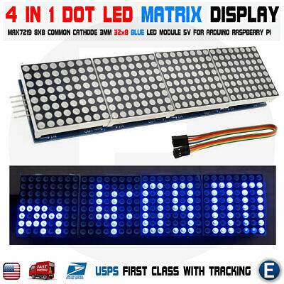 Matrix Blue Led Display Module Max7219 5p Line 8x32 4 In 1 Arduino Compatible Us