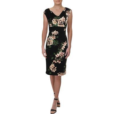 Lauren Ralph Lauren Womens Black Ruched Floral Party Cocktail Dress 2 BHFO 0467