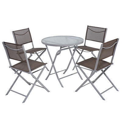 Garden Furniture - 5 PCS Bistro Set Garden 4 Folding Chairs Table Outdoor Patio Furniture