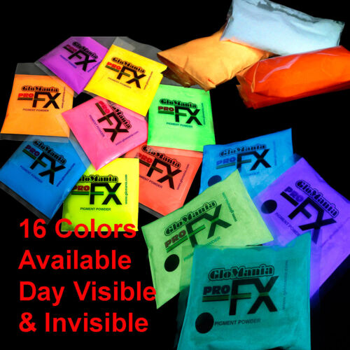 GLOW IN THE DARK Powder Pigment Resin Slime Artwork NAILS Table Tops 16 Colors