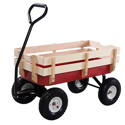 300lbs Outdoor Pulling Garden Cart Wagon with Wood Railing for sale  Fontana
