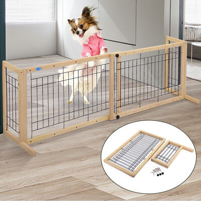 Dog Gate Adjustable Indoor Solid Wood Construction Pet Fence Gate Free Standing
