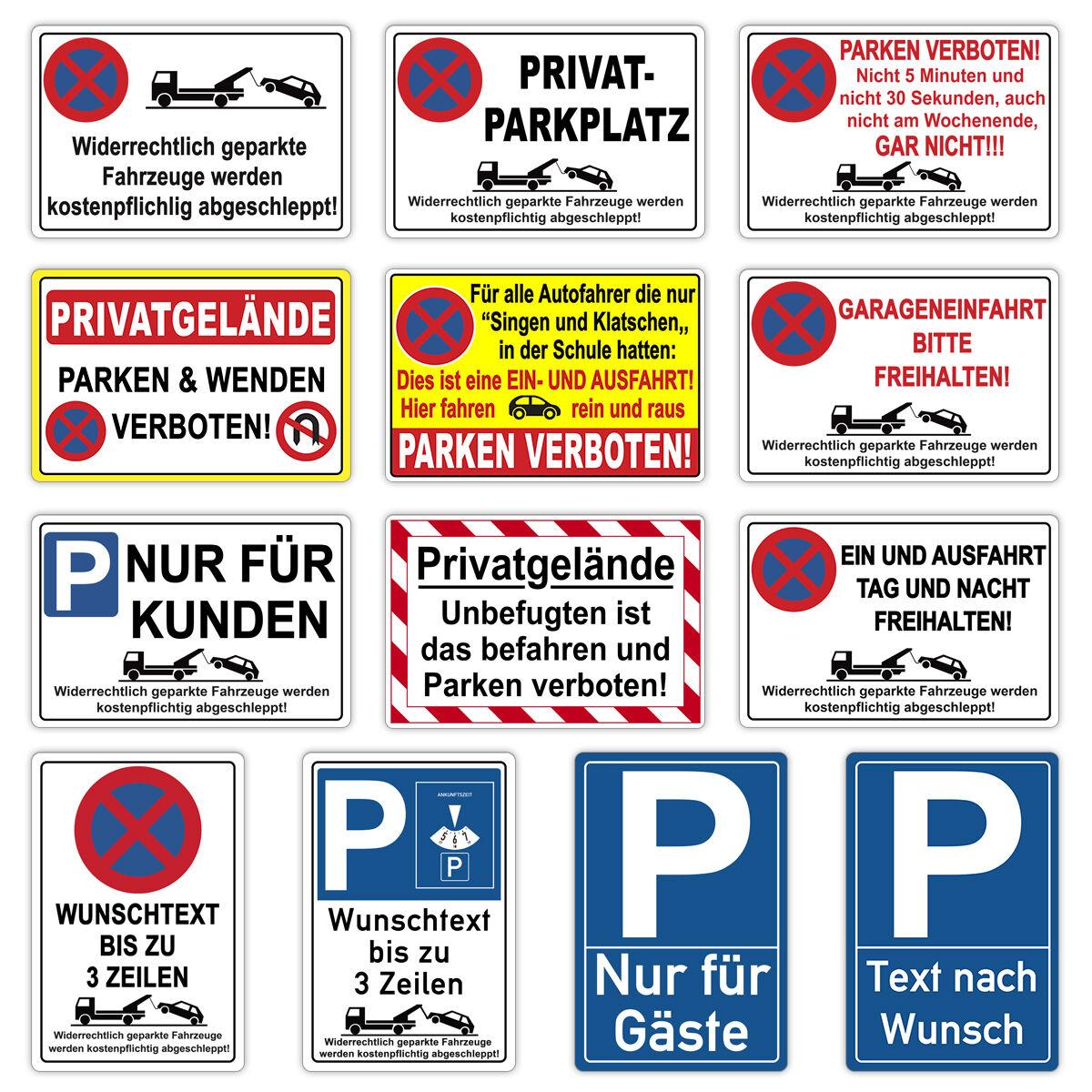 Parkplatz Schild Parken verboten Wunschtext Hinweisschild Parkverbotsschild Alu