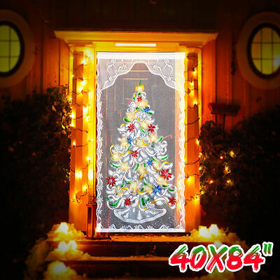 Lace Door Curtain (Lace Christmas Curtain Home Party Decor LED Light Up Window Door Cloth Xmas)