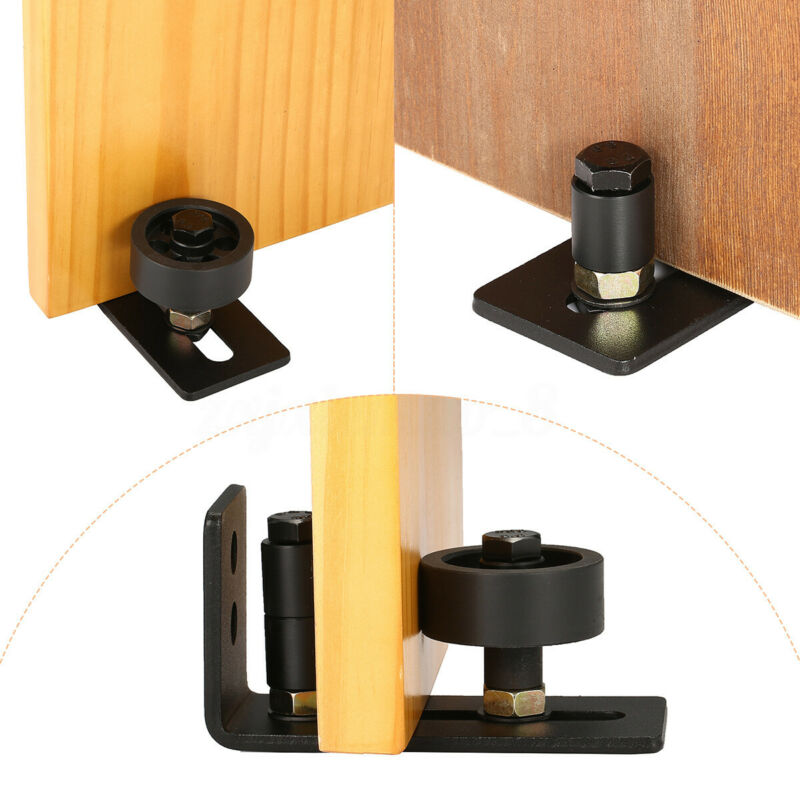 Modern Sliding Barn Door Closet Wheels Kit Track Floor System Unit Hardware Set