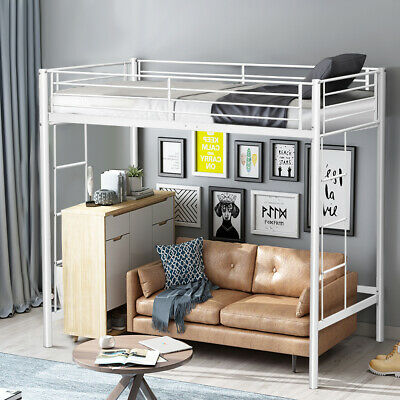 Twin Loft Bed Metal Bunk Ladder Beds Boys Girls Teens Kids B