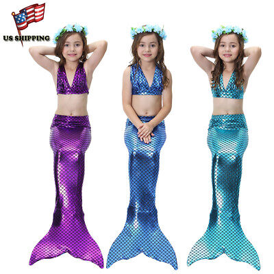 Kids Girls 3Pcs Mermaid Tail Swimming Bikini Set Swimwear Swimmable Costumes](Kid Mermaid Costumes)