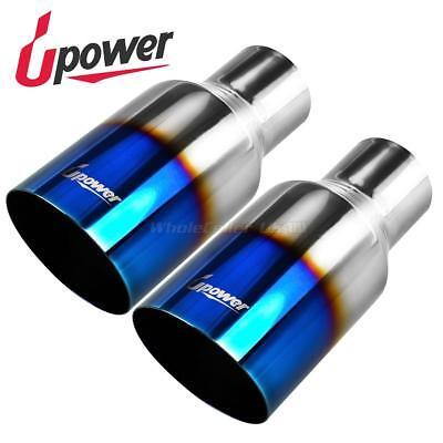 (Pair Vacuum Blue Exhaust Tip Single Wall Slant Cut 304SS 2.5