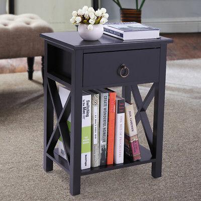 Black  Bedroom  Nightstand End Side Bedside Table W/Drawer Storage Shelf Wood