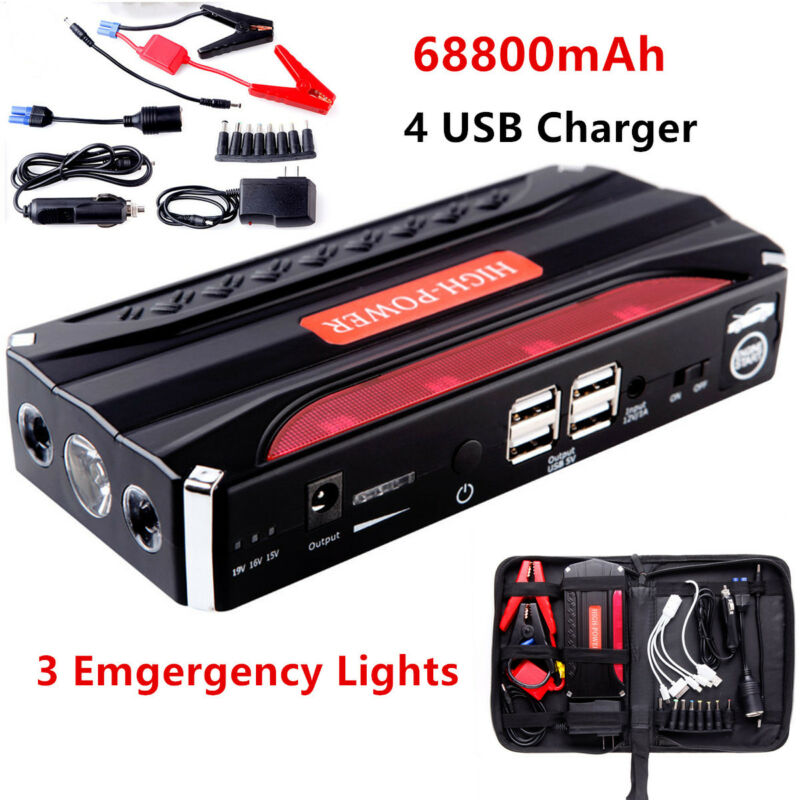 MultiFunction 68800mAh 4USB Car Jump Starter Power Bank Rechargable Battery 12V