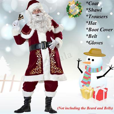 Santa Claus Costume Adult Suit Christmas Plush Outfit Fancy Dress X - Large Free](Large Santa Suit)