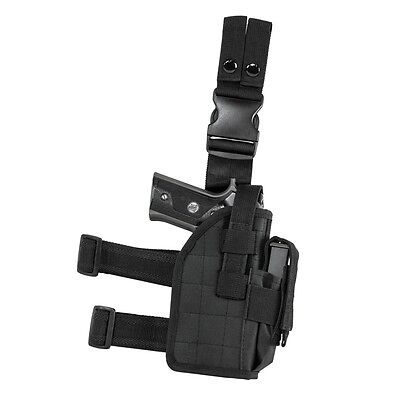NcStar CVDLHOL2954 BLACK Universal Tactical Leg Holster Handgun Pistol Mag Pouch
