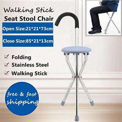 Travel Cane Walking Stick Seat Camp Hiking Folding Portable Stool Chair NEW MX