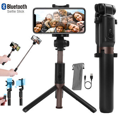 Extendable Bluetooth Selfie Stick Tripod Remote Shutter 360 Control iPhone X 8 7