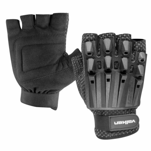 Valken Paintball Airsoft Alpha Half Finger Gloves - Black XSmall/Small XS/S