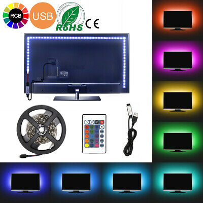USB Powered RGB 5050 LED Light Strip Computer TV Backlight Remote 0.5m-5m Kit