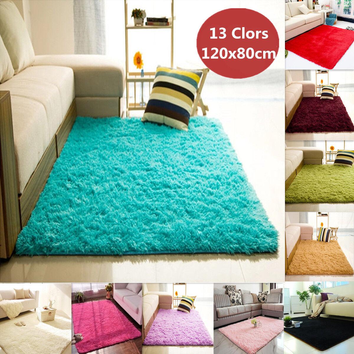 Fluffy Rugs Anti-Skid Shaggy Area Rug Home Room Carpet Floor