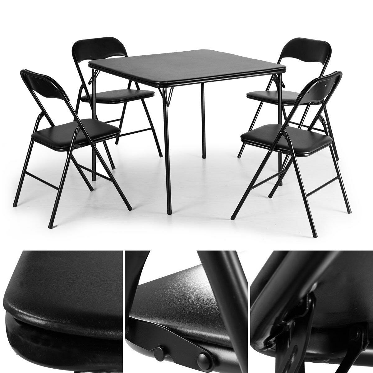 5 PCS Folding Camping Dining Table Set Table and 4 Chairs Bl