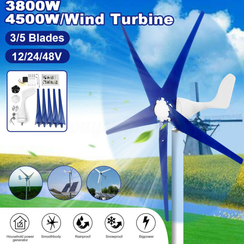 4500W Max Power DC12/24/48V 3/5Blades Wind Turbines Generator Charge Controller