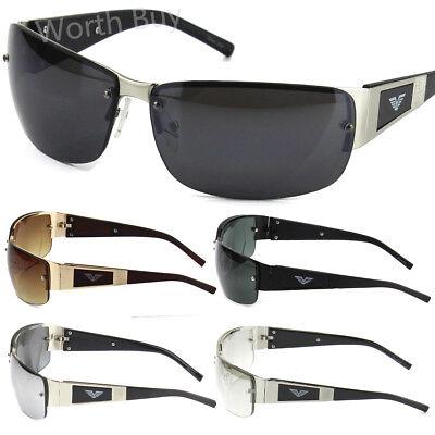 Mens Rectangular Fashion Sunglasses Wrap Around Retro Vintage 80s Designer Eagle](80s Wrap Sunglasses)