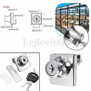 Zina Alloy Lock For Cabinet Showcase Single Swinging Glass Door + 2 Security Key
