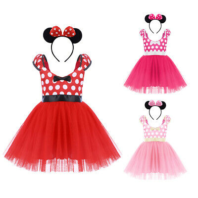 Minnie Mouse Outfit For Infants (Minnie Mouse Costume Dress for Baby Kids Girl + Ear Bowknot Headband Outfit)