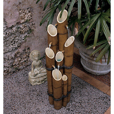 Asian Inspired Bamboo Pillars Multi Tiered Garden Yard Water Feature Fountain Asian Garden Tiered Fountain
