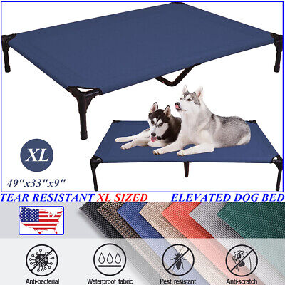 VEEHOO Extra Large BLUE Elevated Dog Beds Pet Cot Raised Cooling Lounger -