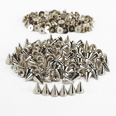 100St.silber 10mm Metall Leder Nieten Spike Ziernieten Schraubnieten Gothic Punk