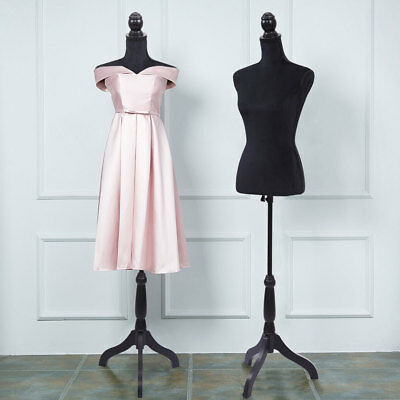 New Black Female Mannequin Torso Clothing Display W Black Tripod Stand