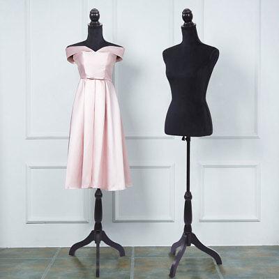 Female Mannequin Torso Dress Clothing Form Display Tripod Stand Coat Model Black