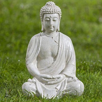 Buddha Gartenfigur Skulptur Dekofigur sitzend Buddhismus Feng Shui Figur 39 cm
