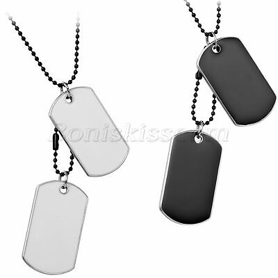Alloy Military Style Double Dog Tags Pendant Bead Chain Necklace For Men's Gift](Military Dog Tags For Men)