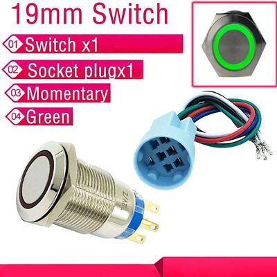 19mmGreen Momentary Push Button LED Angel Eye Switch Socket plug US Shipping