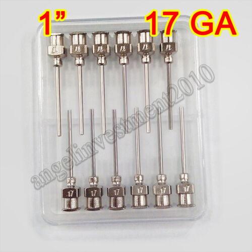 "12pcs 1"" 17GA Blunt stainless all steel dispensing syringe needle tips"
