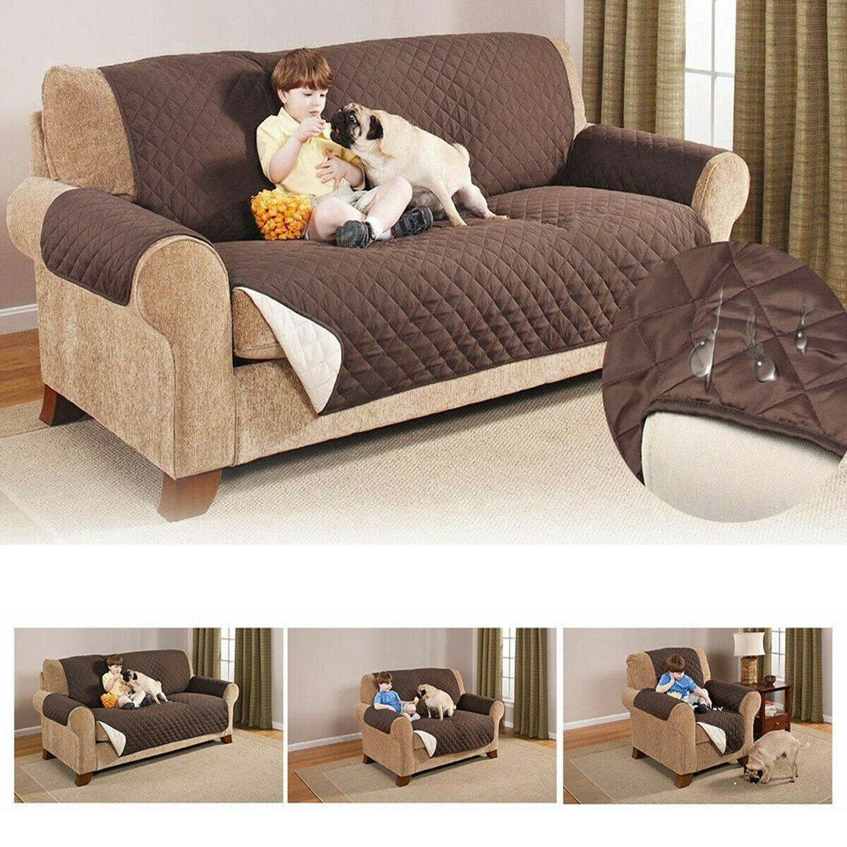 Waterproof Quilted Sofa Couch Cover Chair Pet Dog Kids Mat F