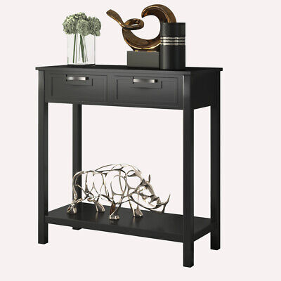 Accent Console Table Entryway Sofa Foyer Table Storage Shelf W/2 Drawers Black