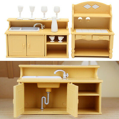 Plastic Kitchen Cabinets Miniature DollHouse Furniture Set D